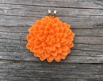 Resin Flower Pendant - Orange Mum
