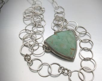 Triangular Chrysoprase stone bezel set in sterling silver with double handcrafted sterling chain
