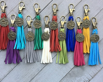 "Birthday Gift - Tassel with Zodiac Charm - 3.5"" Mini Tassel - Choose Color and Charm - Handbag Charm, Purse Tassel, Gift for Her, Keychain"