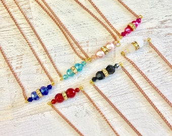 Choose Your Color, Glass Beads and Rhinestones, Minimalist Beaded Bar Layering Necklace with Vintage Copper Chain KreatedbyKelly