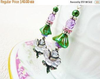 SALE Purple Flower Earrings, Flower Dangle Earrings, Rhinestone Flower Earrings, Czech Glass, Vintage Style Earrings, Handmade By KreatedByK