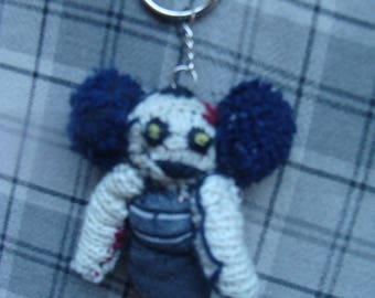 Spooky Horror Zombie Punk Rock  Girl Cloth Doll  Key Chain