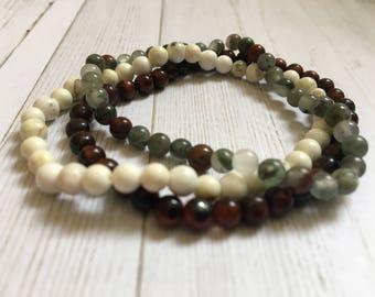 Peace Crystal Mini Gemstone Bracelet Stack Bloodstone, Howlite, Tiger's Eye