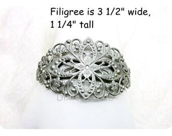 10 antiqued silver cuff bracelets,bracelet base, bracelet blanks,filigree cuff, assemblage base forcollage, silver filigree, wedding jewelry
