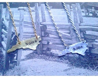 Custom Hand Stamped Home State Necklace