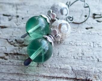 dZi Agate Green Fluorite Drop Earrings || Drop and Dangle | Earthy | Organic | Boho | Hippie | Wedding | Green and White Earrings Under 25
