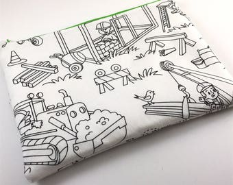 Color Me Fabric Zipper Bag Kids Drawing Art School Supplies Construction Workers Back to School Pencil Pouch