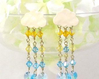 Rain Cloud Earrings Sun Shining Day -Blue Yellow Cloud Earrings -Raindrop Earrings -White Clouds Post Earrings -Gift for Her -Earrings Gift