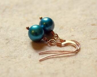 Turquoise Pearl Earrings - Pearl Earrings - June Birthstone