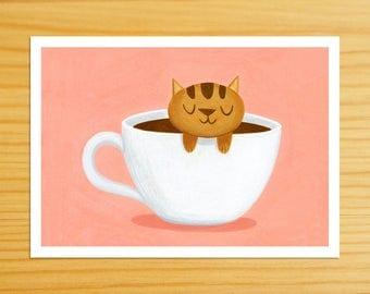 Caramel Coffee Cat 5x7 Print