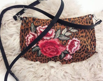 Recycled Leopard Suede and Roses- Crossbody Bag