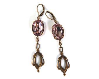 Antique Style Earrings in Antiqued Brass with Pale Amethyst Purple Swarovski Crystal Prong Set Stones Drop Dangle Earrings