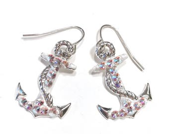 Nautical Anchor Earrings with Sparkling Crystals
