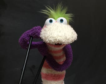 Monster Sock Puppet, Hand and Rod Puppet, Pink & White Striped, Stretchy, One size, Lime Green Hair, Blue Eyes, Arm Rods