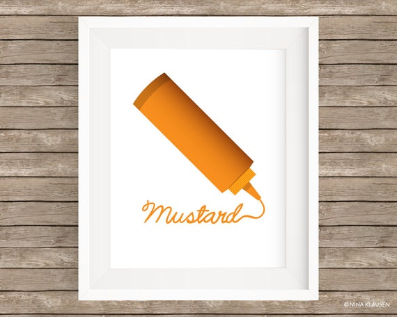 Mustard Digital Art Print / Yellow Mustard Bottle Wall Art / P0002