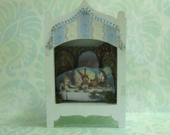 Miniature Toy Theater/Vignette with Alice and Tea Party