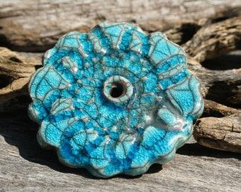 Handmade RAKU Disc Flower