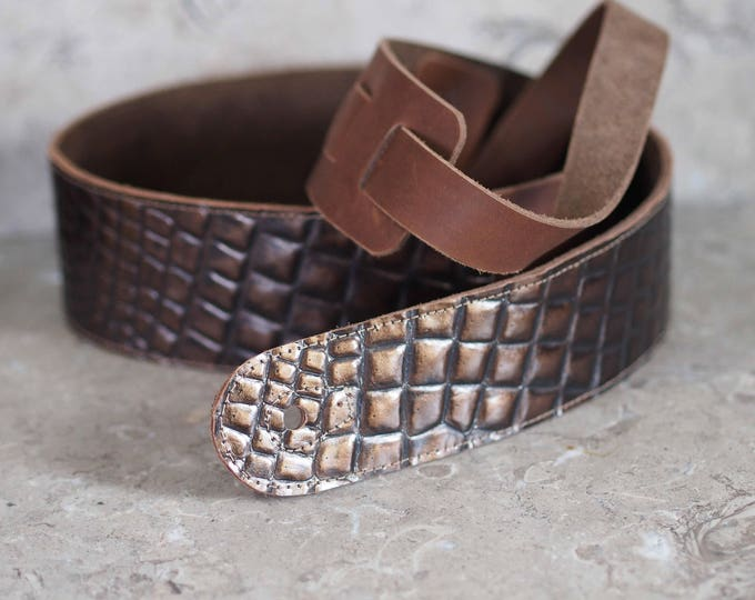 Bronze Scales on Brown Leather Guitar Strap