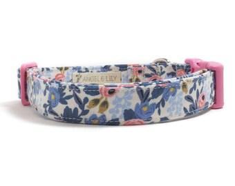 Dog Collar - Rifle Paper Co - Les Fleurs - Girl Dog Collar - Dog Collar for Girl - Pink Floral Dog - Blue Floral Dog - Pretty Dog Collar