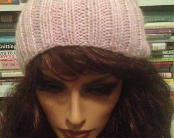 SALE Heather Pink Slouchy Knit Hat Slouch Tam Beanie