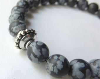 Black Mens Bracelet, Snowflake Obsidian Stretch Bracelet, Sterling Silver, Unisex Jewelry, Fathers Day Gift, Gemstone Bracelet for Him