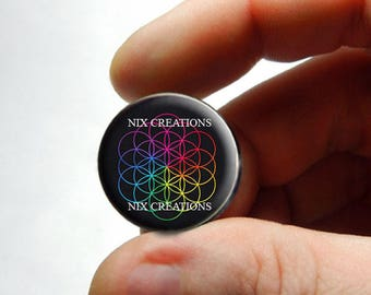 Glass Cabochon - Rainbow Flower of Life - for Jewelry and Pendant Making