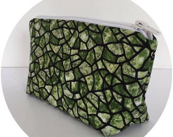 FINAL MARKDOWN toiletry bag, makeup bag, cosmetic bag, green, black, purse organizer, zipper bag, zipper pouch,