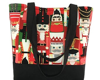 Christmas Fabric tote, Nutcracker, toy soldiers, Large handbag, bags and purses, tote bag, market bag, purse, gift for women, Dee's designs