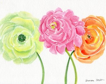 Pink peony, green and orange ranunculus original watercolor painting 8 x 10 watercolor painting, watercolor flowers
