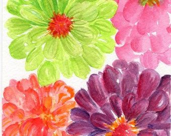 Original Zinnias Watercolor Painting,  5 x 7 floral art pink, orange, lime green, purple zinnias watercolor, Zinnia art decor, flowers