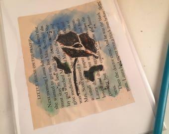 Hand printed blank greeting card original linocut inked art print up upcycled mixed media poppy shabby chic decor farm