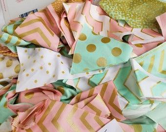 Lot 5 Quilting Scraps Large Flat Rate Envelope stuffed with metallic cotton designer fabrics triangles, mint, pink, Michael Miller Glitz