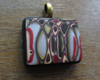 Over and Over Again Mokume Gane Polymer Clay Pendant