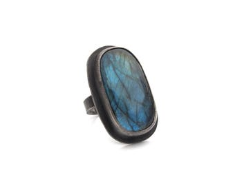 Big Sterling Silver and Labradorite Cocktail Ring - Size 8 OOAK