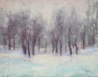 Winter Landscape with snow  Contemporary Original Pastel Painting  Karen Margulis