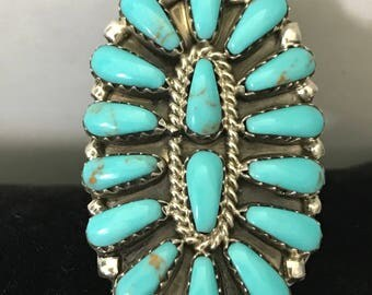 Vintage Turquoise Ring Sterling Silver Ring Size 6 1/2 Free Priority Shipping