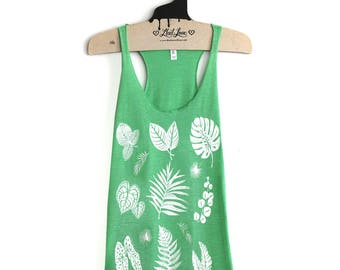 Large- Heather Green Tri-Blend Teal Racerback Tank with Plant Print Screen Print