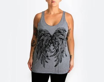 M -Tri-Blend Heather Gray Racerback Tank with Angel Wings Screen Print