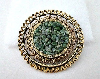 Green Agate Chip Pin Brooch / Vintage Brooch Jewelry Gift / Statement Jewelry / Large Round Pin / Agate Jewelry