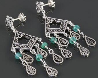 Emerald Chandelier Earrings. Sterling Silver. Turkish Filigree. Genuine Gemstone. May Birthstone. s17e051