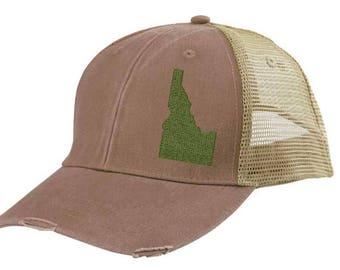 Distressed Snapback Trucker Hat -  Idaho off-center state pride hat - Many Colors available