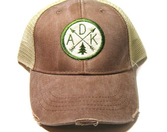 Mud Brown Distressed Snapback Trucker Hat - Adirondack ADK Pine - Patched Arrow Compass