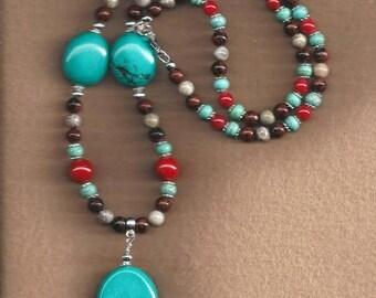 ON SALE Magnesite & Mahogany Jasper Necklace,Mahogany Jasper Necklace,Coral Necklace,Fossil Coral Necklace,Gemstone Necklace