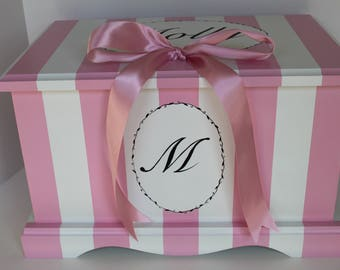 Baby Keepsake Box chest baby memory box personalized - Parisian Pink Stripe - baby girl gift hand painted baby shower gift