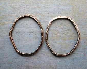 Hammered Organic Oval Links in Antiqued Sterling - 1 pair - 30mm in length - 14 gauge