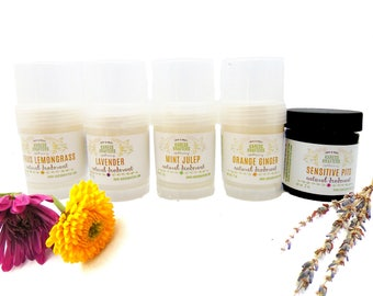 Natural Deodorant Five Pack -  Aluminum Free - 24-Hour Protection - Shea Butter- Coconut Oil - Essential Oils - Vitamin E - Gent