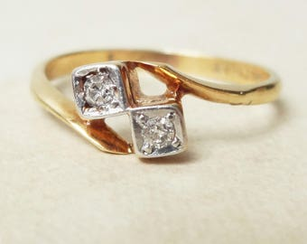Antique Twin Diamond Geometric Ring, Diamond 18k Gold and Platinum Engagement Ring Approx Size US 6.5