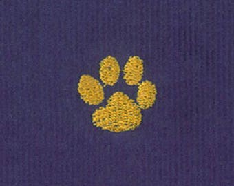 Fabric Finders Embroidered Gold Paw Purple Corduroy Fabric By The Yard