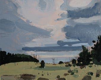 Entrance Valley, Original Autumn Landscape Painting on Card, Stooshinoff