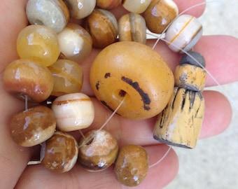RESERVED,banded agate beads, raku bead,